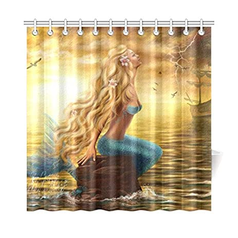 InterestPrint Princess Sea Mermaid Ghost Ship Polyester Fabric Shower  Curtain Bathroom Sets Home Decor 72 X