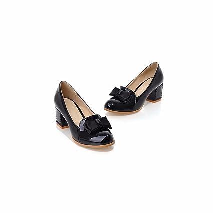 Lack High Heels Schuhe runden Bogen Schuhe lady süße Mädchen Studenten, Beige, 37