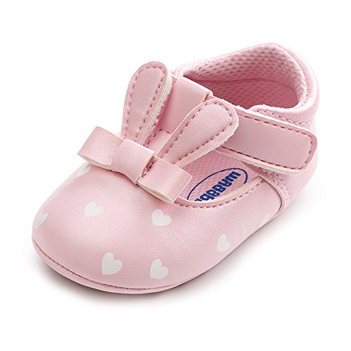 (Baby Mary Jane Sandals,Infant Anti-Slip Soft Rubber Sole Toddler First Walker Shoes (A-Pink,12-18)