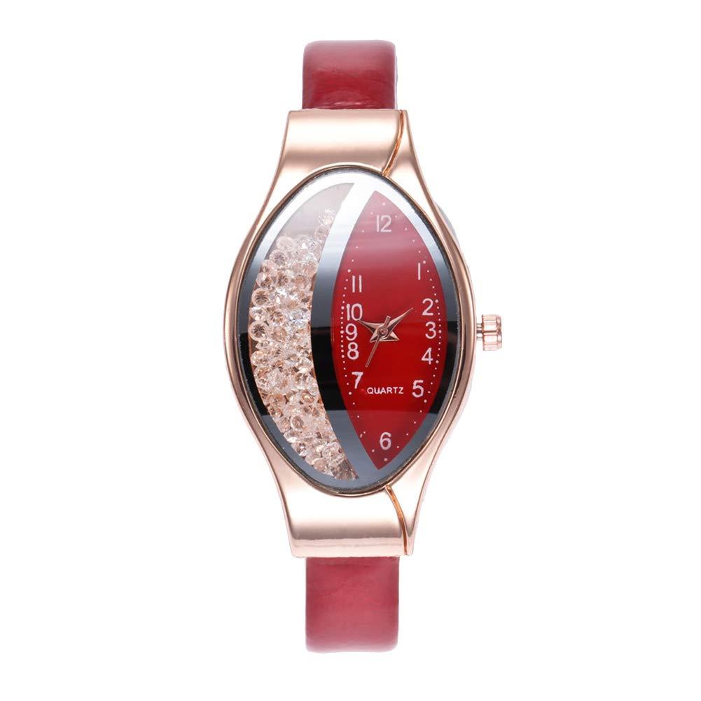 yanbirdfx Creative Women Oval Dial Quicksand Decor Analog Faux Leather Quartz Wrist Watch - Red