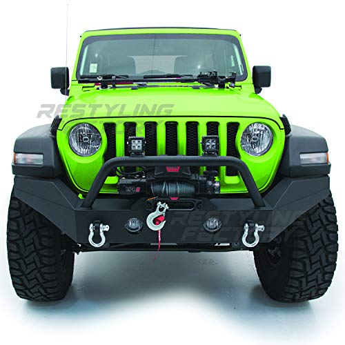 (Restyling Factory -Black Textured Full Width Front Bumper With Fog Lights Hole & 2x D-Ring & Winch Plate for 18-19 Jeep Wrangler JL)