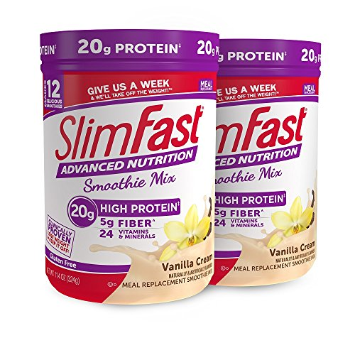 SlimFast – Advanced Nutrition High Protein Smoothie Powder – Meal Replacement – Vanilla Cream – Great Taste – Great for Recipes – 11 oz. Canister – Pack of 2