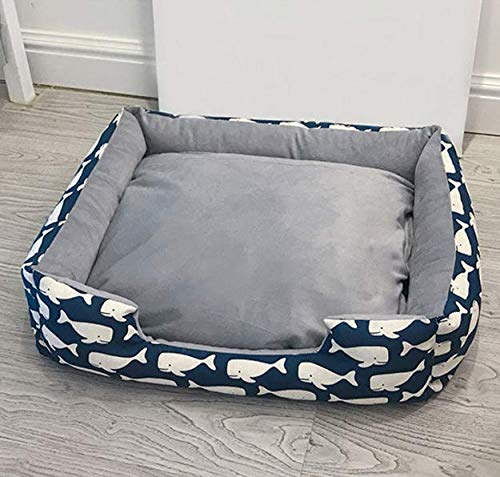FidgetGear Self-Warming Cat and Dog Medium Large Bed Cushion for Joint-Relief S-4238 cm,Suit for Pets Less Than 1.5 kg Dark Blue Fish