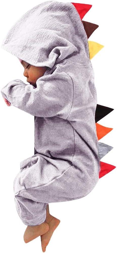 YWLINK Mono con Capucha Bebé ReciéN Nacido NiñOs NiñAs Manga Larga Caricatura Dinosaurio Cremallera con Capucha Mameluco Lindo Mezcla De AlgodóN Ocio Comodo Pijama Regalo De CumpleañOs