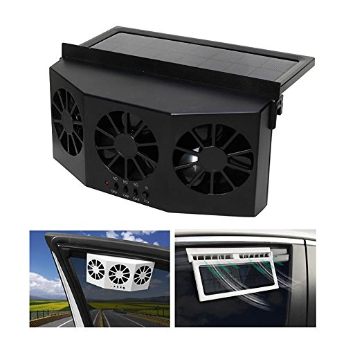 Umiwe Solar Powered Car Cool Cooler Fan Auto Front/Rear Window Air Vent Exhaust Fan Vehicle Radiator Vent with Three-Headed Fan, Clear Formaldehyde Odor, Protect Electrical Appliances ()