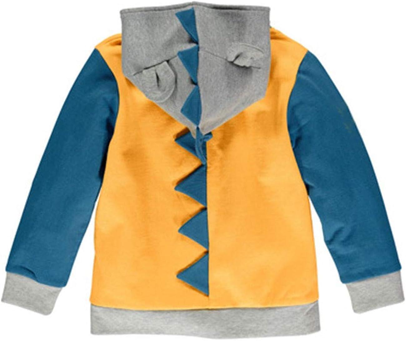 LitBud Toddler Boys Jacket Cartoon Dinosaur Animal Zipper Packaway Spring Autumn Hoodies Coat for Kids 1-7 Years