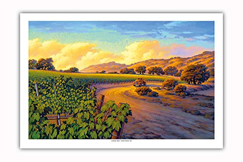 Pacifica Island Art - Vineyard Sunset - Wine Country Art by Kerne Erickson - Premium 290gsm Giclée Art Print 24in x 36in by Pacifica Island Art (Image #1)
