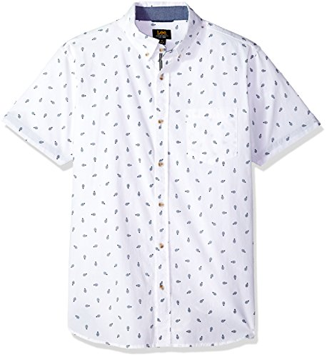 LEE Men's Short Sleeve Pattern Woven, Bright White, X-Large from LEE