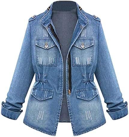 NOMUSING Jacket for Women Plus Size Fashion Casual Ladies Denim Oversize Jeans Chain Pocket Coat Slouchy Outerwear