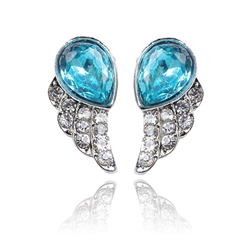 Chinatera 1 Pair Cute Style Blue Jewlery Angels Wing with Rhinestone Women Studded (Studded Wing)