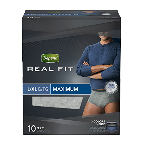 Depend Real Fit Incontinence Underwear for Men, Maximum Absorbency, L/XL, 4 Packs of 10, 40 Total (Latex 5 Looks New)