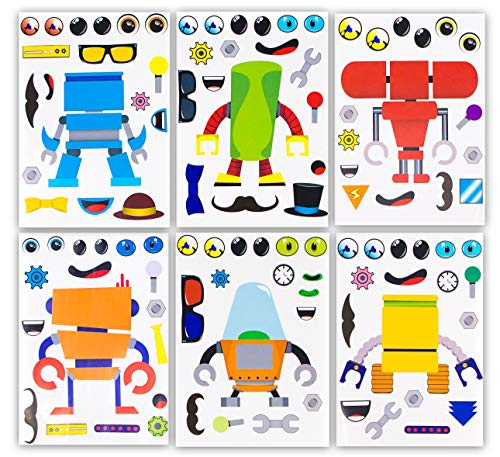 24 Make A Robot Stickers For Kids - Great Robot Theme Birthday Party Favors - Fun Craft Project For Children 3+ - Let Your Kids Get Creative & Design Their Favorite Robot Stickers
