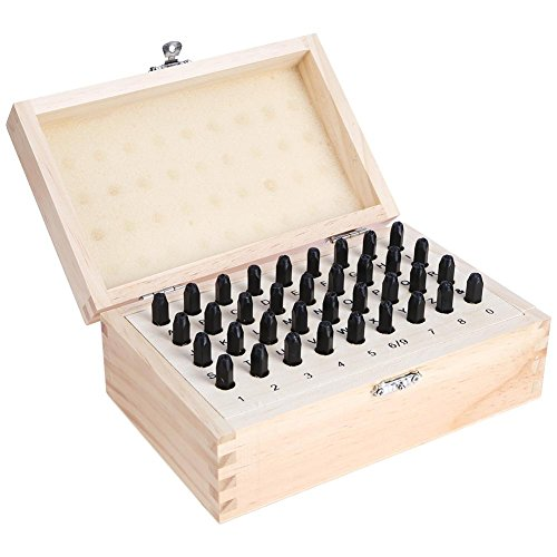 Whitelotous 36pcs Stainless Steel Letter Number Punch Set Leather Wood Craft Stamp Tool with Wood Box(3mm) by Whitelotous