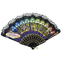 Las Vegas Night Theme Black Cooling Hand Fan