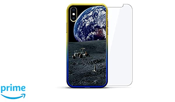 Amazon.com: Space: Earth, Moon, Rover | Luxendary Gradient Series 360 Bundle: Clear Ultra Thin Silicone Case + Tempered Glass for iPhone Xs/X (5.8