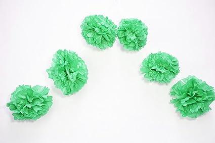 Amazon quasimoon 6 cool mint green hanging tissue paper flower quasimoon 6quot cool mint green hanging tissue paper flower pom pom party garland decoration mightylinksfo
