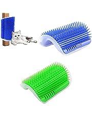 Szczotka do samopielęgnacji kotów domowych, 2 sztuki szczotka do samopielęgnacji zwierząt, szczotka ścienna dla kota, samogomożająca kota, z kocimięciem, idealne narzędzie do masażu dla długich i krótkowłych kotów (niebieska, zielona)