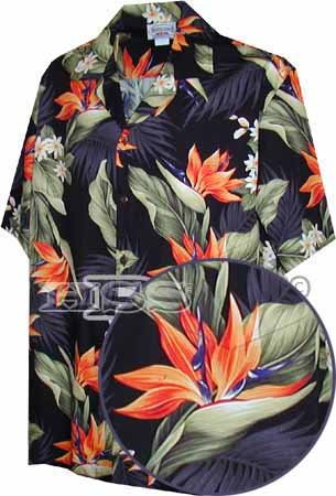 Pacific Legend Tropical Shirts Bird Of Paradise Black 2Xl 410 3470