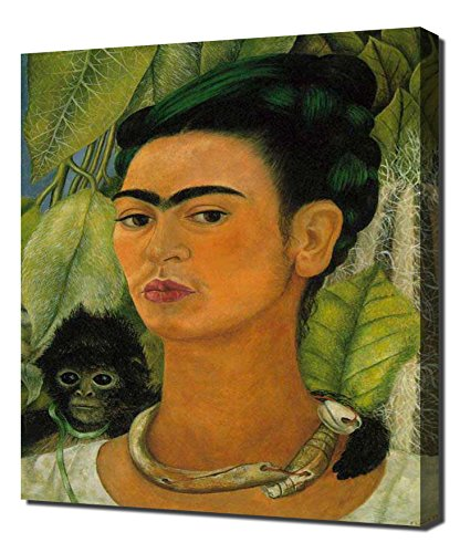 Lilarama Frida Kahlo - Self Portrait with A Monkey Framed Canvas Art Print Reproduction ()