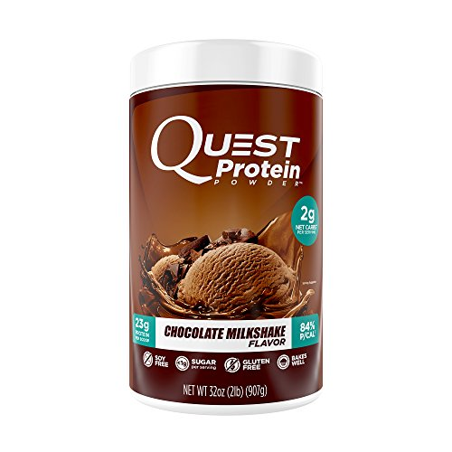 Low Fat Soy Milk (Quest Nutrition Protein Powder, Chocolate Milkshake, 23g Protein, 2g Net Carbs, 84% P/Cals, 2lb Tub, High Protein, Low Carb, Gluten Free, Soy Free, Packaging May Vary)