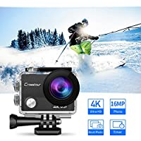 Crosstour Action Camera 4K WIFI Underwater Cam 16MP Ultra HD Waterproof Sports Camera with Remote Control 170°Wide-angle 2 Inch LCD Plus 2 Rechargeable 1050mAh Batteries and Mounting Accessories Kit by Crosstour