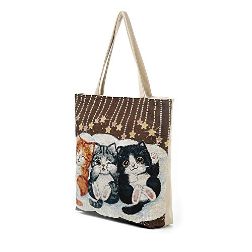 Casual ZOMUSA Tote Printed Women Cat Shopping Bag Canvas Clearance B YxqdABY