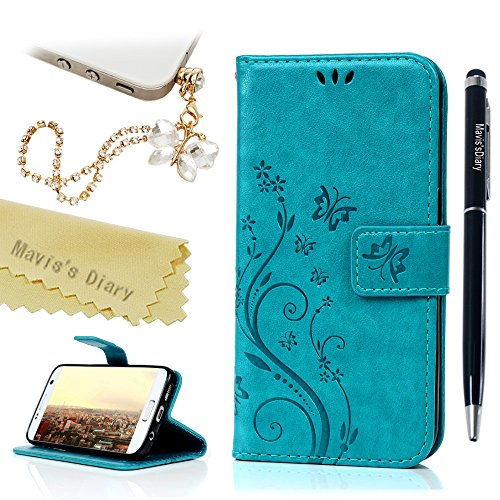 Galaxy S7 Case - Mavis's Diary Embossed Wallet Purse Fashion Floral Butterfly PU Leather Flip Folio Cover & Card Holders Hand Strap & Cute Dust Plug & Stylus for Samsung (Halloween Couture Fashion Show)