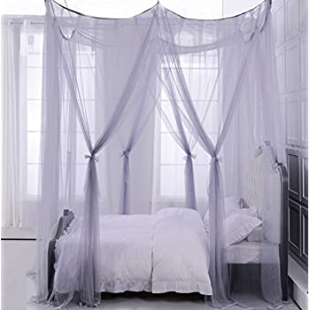 Mengersi 4 corner post bed canopy curtain - King size canopy bed with curtains ...
