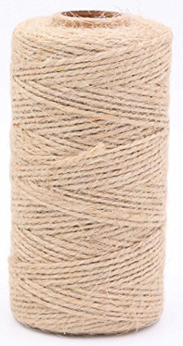 LeBeila Natural Jute Twine String – 2 ply Hemp Cord Industrial Packing Rope Durable Materials Heavy Duty Decorative String For Garden Arts Crafts Gift Bakers Butcher Clothespins Tags (328 Feet, Brown) (Love Gardening Banner)