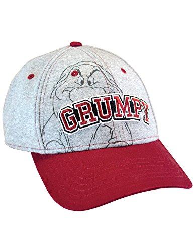 Disney Grumpy Hat (Disney Seven Dwarfs Grumpy 100% Cotton Heather Gray And Red Baseball Cap)