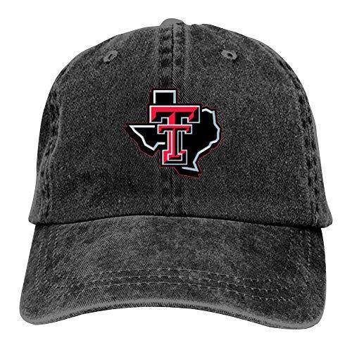 Unisex Texas-Tech Red-Raiders University Hip Hop Baseball Cap Adjustable Cowboy Hat Black -