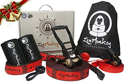 ZenMonkey Slacklines Kit with Training Line, Tree Protectors, Arm Trainer, Cloth Carry Bag and Instructions, 60 Foot - Easy Setup for The Family, Kids and Adults