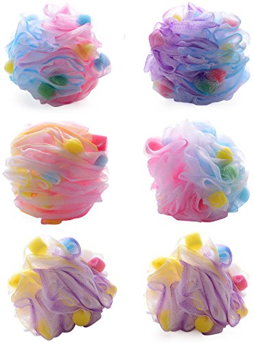 [SET OF 6] Bath Sponge Shower Mesh Pouf Exfoliating Sponge Large (55 Grams) - 6 Beautiful Loofah Assorted Colors - By Rosemary Spa- Luxury Care Bath Sponges For Men & (Mesh Terry Gloves)
