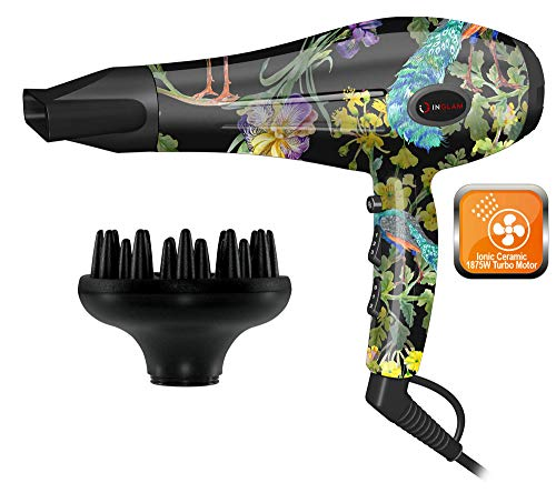 Hair Dryer, ION Heat Air Flow 1875W, Volumizing Finger Diffuser and Concentrator Nozzle Blow Dryer- by InGlam Hair Tools Flower Power