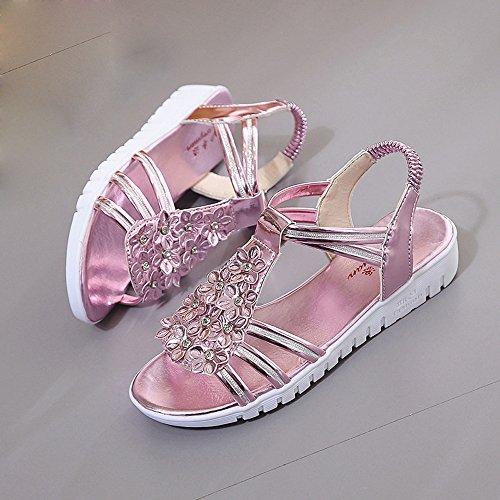 Elevin (tm) Femmes Été Mode Peep Toe Match Loisirs Épais Soled Sandales Plates Chaussures Rose