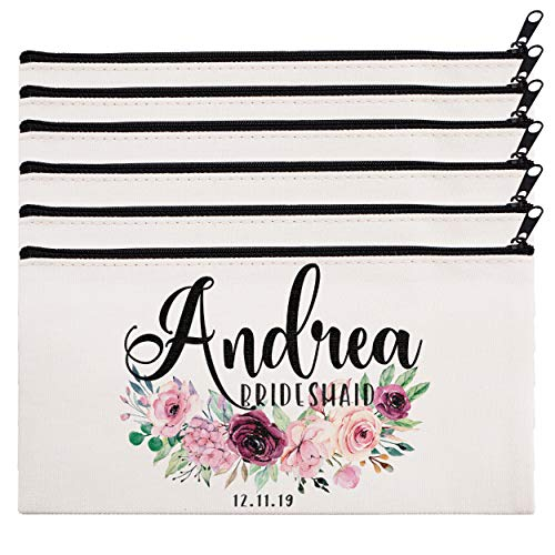Gift Pouch Set (Personalized Makeup Bag Bridesmaid Wedding Customized Pouch Bachelor | Design-10 | Set of 6)