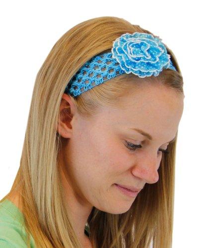 Polka Princess Stretchy Crochet Headband with Polka Dot Flower Hair Band Colors: Turquoise
