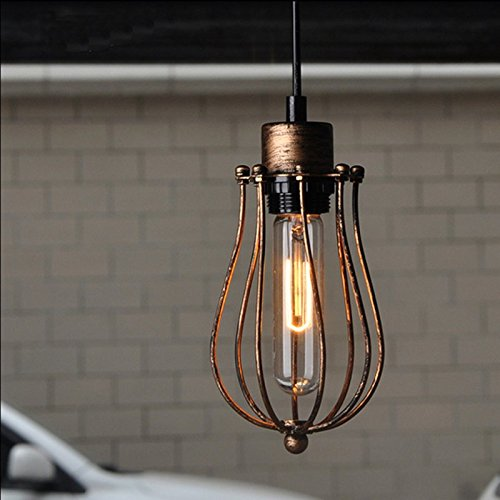 WINSOON 1PC Modern Style Metal Lamp Wall Lamp Vintage Loft Pendant Light Retro Cage Design (Brown)