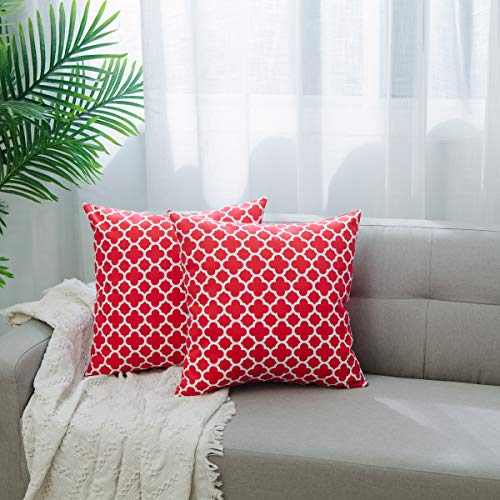 - NATUS WEAVER 2 Pc Cotton Canvas Throw Pillow Cover Case for Couch Sofa Home Decor, Modern Quatrefoil Lattice Accent Geometric, 18 X 18 Inches,Red