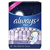 ALWAYS Maxi Size 5 Extra Heavy Overnight Pads With Wings Unscented, 27 Count