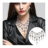 EVBEA Layered Skull Cross Necklace Gothic Statement Choker Pendant Necklace (White)