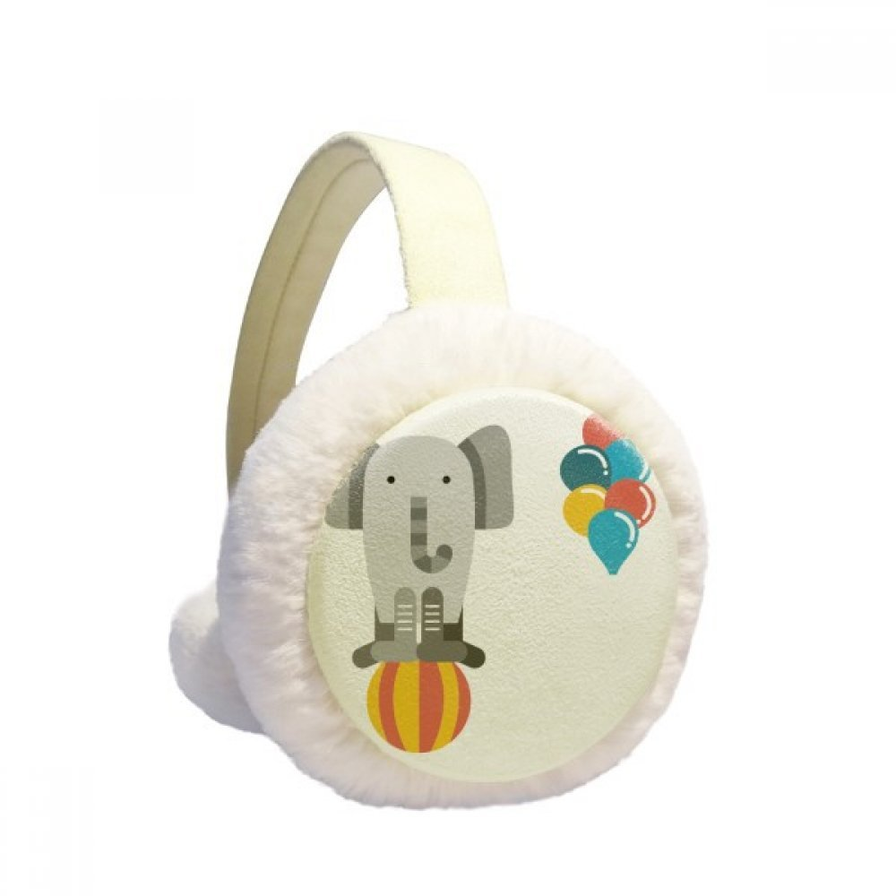 Amazing Funny Balloon Elephant Illustration Winter Earmuffs Ear Warmers Faux Fur Foldable Plush Outdoor Gift