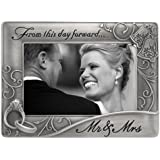 Malden Mr. & Mrs. Die Cast Metal Waves Frame, 4 by 6