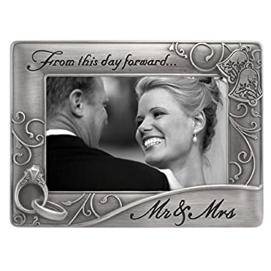 Malden Mr. & Mrs. Die Cast Metal Waves Frame, 4 by 6