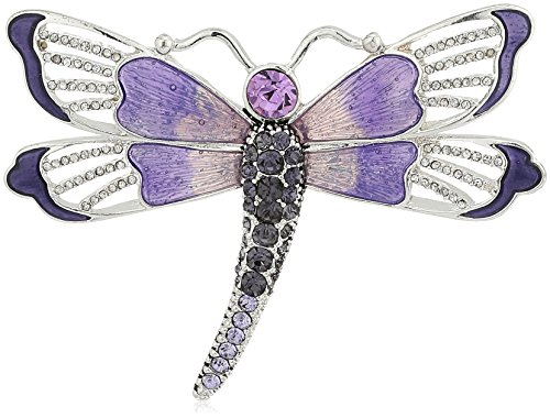 Napier Silver-Tone and Purple Boxed Dragonfly Brooches an...