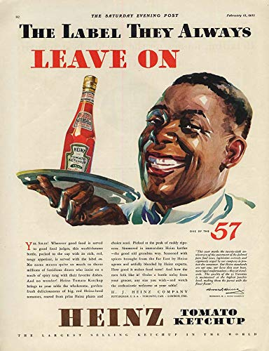 The Label They Always Leave On - Heinz Ketchup ad 1932 black waiter SEP