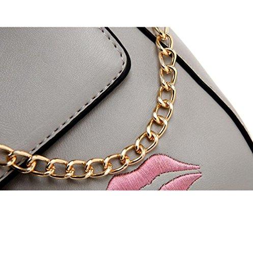 Lèvres à Sac à Gray Womens BAILIANG PU Chaîne Bandoulière Fashion Sac Rouge Main à Bandoulière SFn7qRW