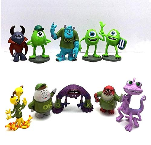 PAPRING Set 10 Mike Wazowski 2 - 2.7 inch Monsters Inc Small PVC Figure Action Figures Mini Model Toys Gift Christmas Halloween Birthday Gifts Cute Doll Animal Collection Collectible for -