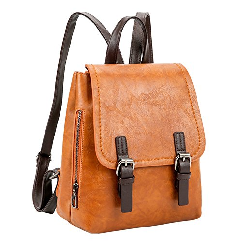 Bag Brown Shoulder Daypacks Vintage Pure Women Bag Tote Backpack Color Casual School Leather Student x6aww