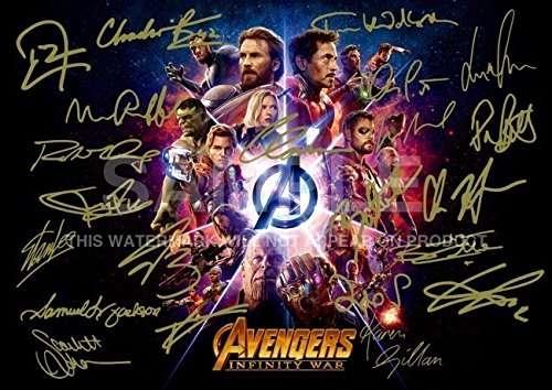 "Large Avengers Infinity War Print RDJ, Stan Lee, Chris Pratt, Tom Hiddleston, Chris Hemsworth, Chris Evans, Black Panther, Spiderman, Captain America, Iron Man (11.7"" x 16.5"")"